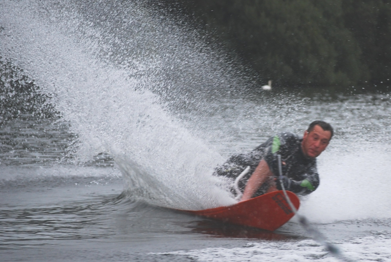 Andy from Brunel Motors in action qualifying for the World Disabled Waterski Championships (slalom)