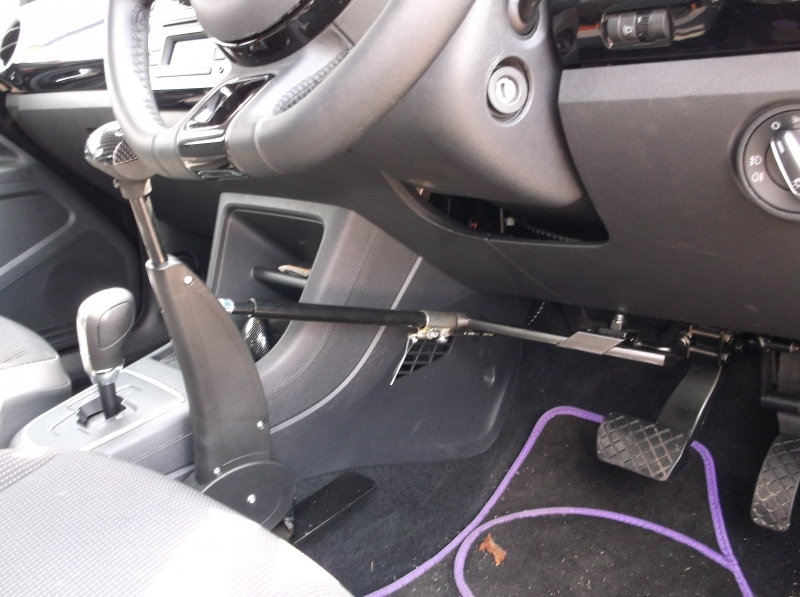 Autoadapt Carospeed floor mounted Brake Accelerator kit fitted in a 2014 V W UP