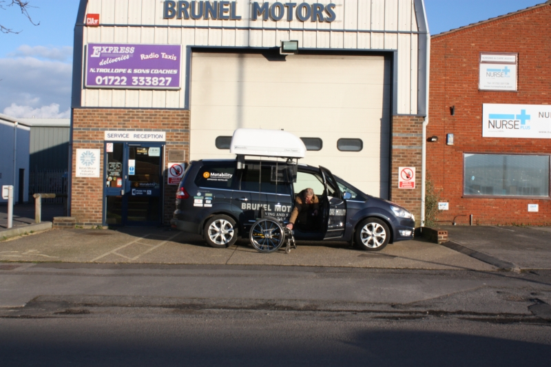 The Braun Chairtopper wheelchair stowage system fitted to Brunel Motors Demonstration Ford Galaxy