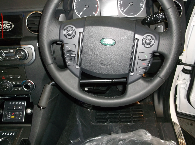 First and only inverted left hand brake accelerator kit with indicator switch. Fitted 2014 Range Rover Sport. View 1.