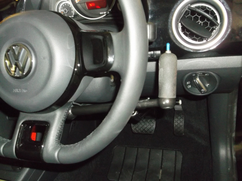 Brig-Ayd SilverLine 2 right hand brake accelerator with indicator switch fitted in a 2014 V W UP. View 1